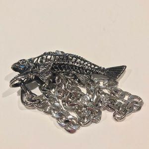 Heavy Steel Fish Skeleton Necklace Men Women